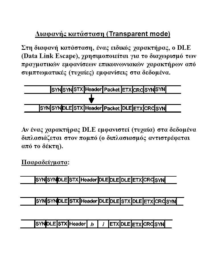 Διαφανής κατάσταση ( Transparent mode) Στη διαφανή κατάσταση, ένας ειδικός χαρακτήρας, ο DLE (Data Link Escape), χρησιμοποιείται για το διαχωρισμό των πραγματικών εμφανίσεων επικοινωνιακών χαρακτήρων από συμπτωματικές (τυχαίες) εμφανίσεις στα δεδομένα.