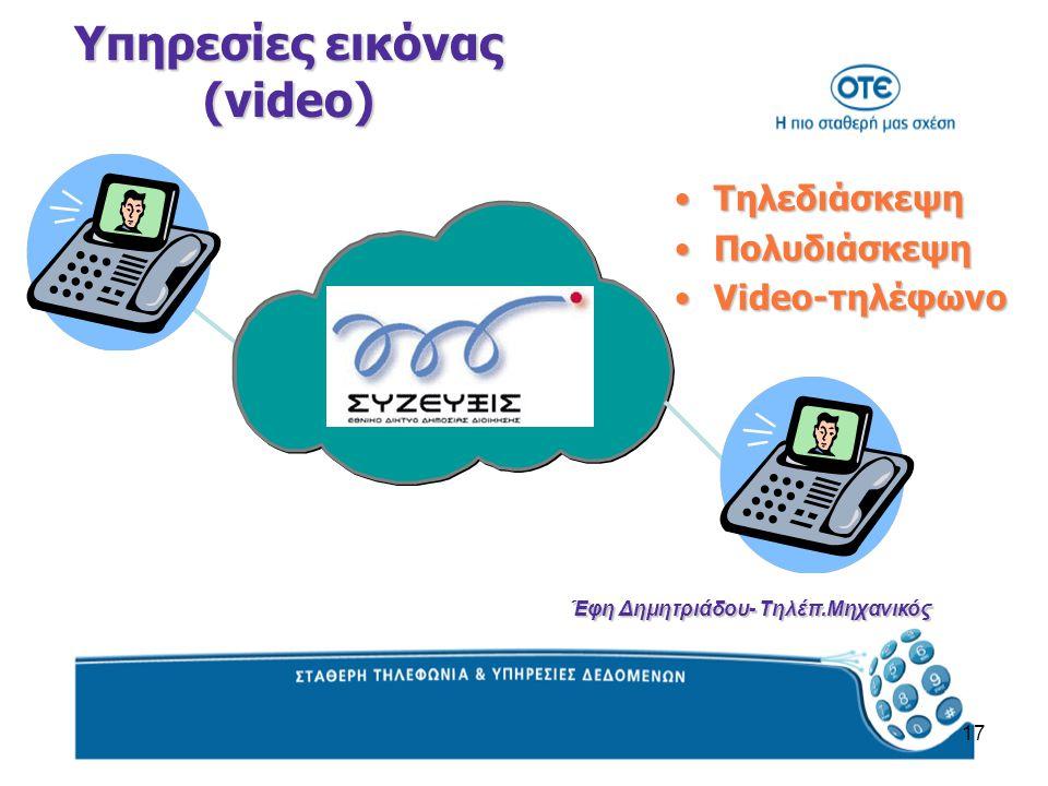 17 ΤηλεδιάσκεψηΤηλεδιάσκεψη ΠολυδιάσκεψηΠολυδιάσκεψη Video-τηλέφωνοVideo-τηλέφωνο Υπηρεσίες εικόνας (video) Έφη Δημητριάδου- Τηλέπ.Μηχανικός