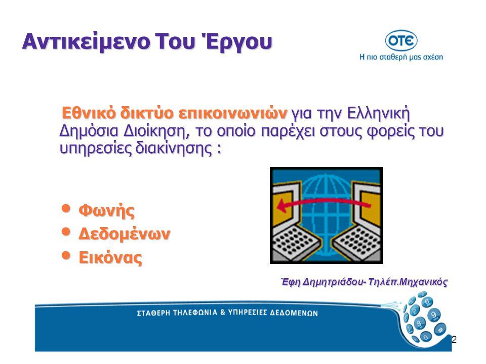 2 Αντικείμενο Του Έργου Εθνικό δικτύο επικοινωνιών για την Ελληνική Δημόσια Διοίκηση, το οποίο παρέχει στους φορείς του υπηρεσίες διακίνησης : Εθνικό δικτύο επικοινωνιών για την Ελληνική Δημόσια Διοίκηση, το οποίο παρέχει στους φορείς του υπηρεσίες διακίνησης : Φωνής Φωνής Δεδομένων Δεδομένων Εικόνας Εικόνας Έφη Δημητριάδου- Τηλέπ.Μηχανικός