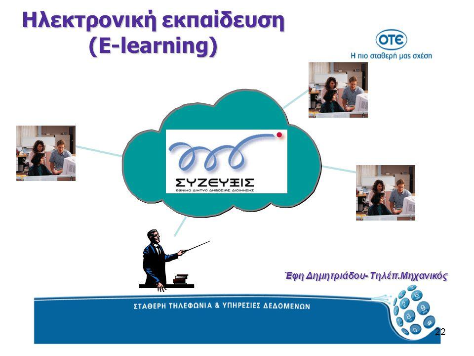 22 Ηλεκτρονική εκπαίδευση (E-learning) Έφη Δημητριάδου- Τηλέπ.Μηχανικός