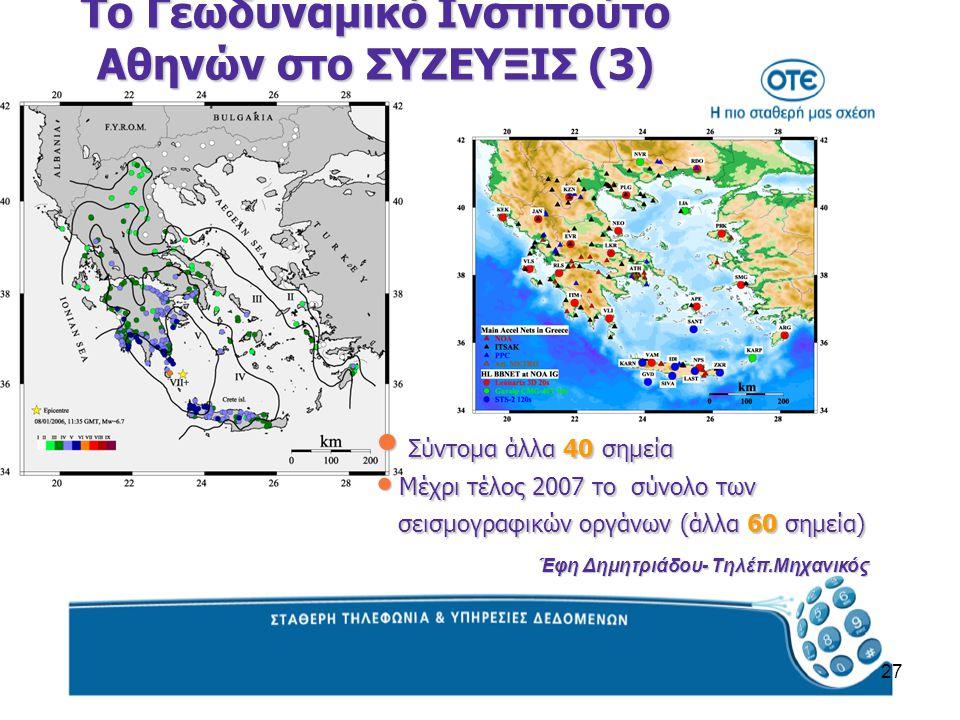 27 Σύντομα άλλα 40 σημεία Σύντομα άλλα 40 σημεία Μέχρι τέλος 2007 το σύνολο των Μέχρι τέλος 2007 το σύνολο των σεισμογραφικών οργάνων (άλλα 60 σημεία) σεισμογραφικών οργάνων (άλλα 60 σημεία) Το Γεωδυναμικό Ινστιτούτο Αθηνών στο ΣΥΖΕΥΞΙΣ (3) Έφη Δημητριάδου- Τηλέπ.Μηχανικός