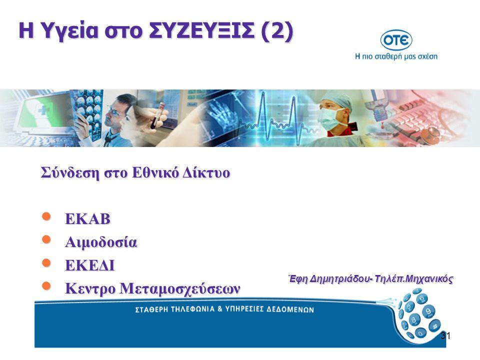 31 Η Υγεία στο ΣΥΖΕΥΞΙΣ (2) Σύνδεση στο Εθνικό Δίκτυο ΕΚΑΒ ΕΚΑΒ Αιμοδοσία Αιμοδοσία ΕΚΕΔΙ ΕΚΕΔΙ Κεντρο Μεταμοσχεύσεων Κεντρο Μεταμοσχεύσεων Έφη Δημητριάδου- Τηλέπ.Μηχανικός