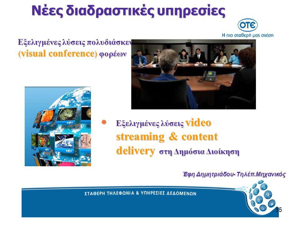 35 Εξελιγμένες λύσεις πολυδιάσκεψης ( visual conference ) φορέων Εξελιγμένες λύσεις πολυδιάσκεψης ( visual conference ) φορέων Νέες διαδραστικές υπηρεσίες Εξελιγμένες λύσεις video streaming & content delivery στη Δημόσια Διοίκηση Εξελιγμένες λύσεις video streaming & content delivery στη Δημόσια Διοίκηση Έφη Δημητριάδου- Τηλέπ.Μηχανικός