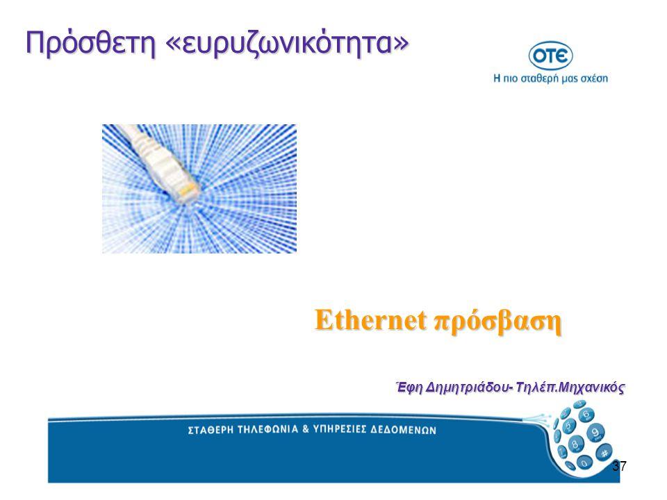 37 Πρόσθετη «ευρυζωνικότητα» Ethernet πρόσβαση Έφη Δημητριάδου- Τηλέπ.Μηχανικός