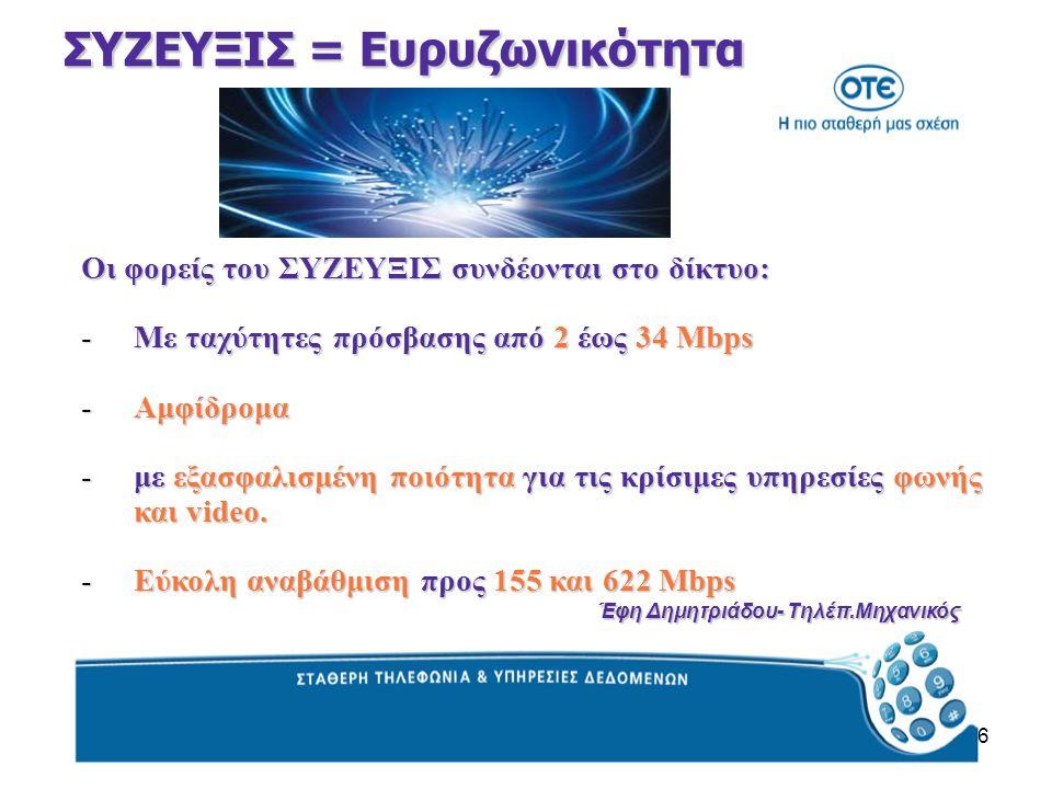 6 ΣΥΖΕΥΞΙΣ = Ευρυζωνικότητα Οι φορείς του ΣΥΖΕΥΞΙΣ συνδέονται στο δίκτυο: -Με ταχύτητες πρόσβασης από 2 έως 34 Mbps -Αμφίδρομα -με εξασφαλισμένη ποιότητα για τις κρίσιμες υπηρεσίες φωνής και video.