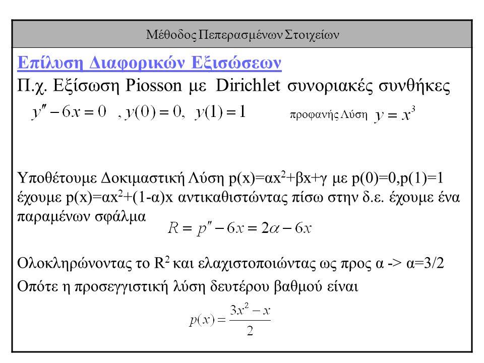 Μέθοδος Πεπερασμένων Στοιχείων Επίλυση Διαφορικών Εξισώσεων Π.χ. Εξίσωση Piosson με Dirichlet συνοριακές συνθήκες προφανής Λύση Υποθέτουμε Δοκιμαστική