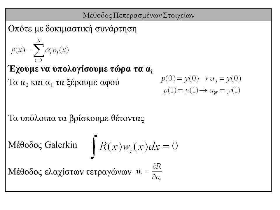 Μέθοδος Πεπερασμένων Στοιχείων Οπότε με δοκιμαστική συνάρτηση Έχουμε να υπολογίσουμε τώρα τα α i Τα α 0 και α 1 τα ξέρουμε αφού Τα υπόλοιπα τα βρίσκου