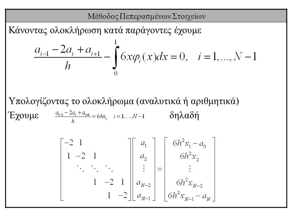 Μέθοδος Πεπερασμένων Στοιχείων Κάνοντας ολοκλήρωση κατά παράγοντες έχουμε Υπολογίζοντας το ολοκλήρωμα (αναλυτικά ή αριθμητικά) Έχουμε δηλαδή