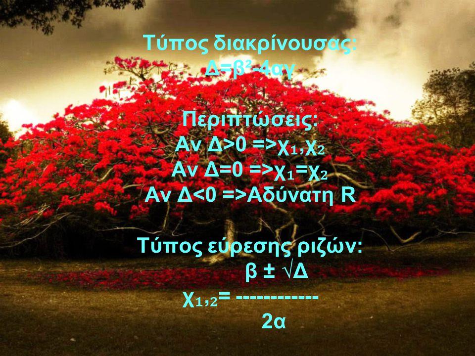 Τύπος διακρίνουσας: Δ=β²-4αγ Περιπτώσεις: Αν Δ>0 =>χ ₁,χ ₂ Αν Δ=0 =>χ ₁ =χ ₂ Αν Δ Αδύνατη R Τύπος εύρεσης ριζών: β ± √Δ χ ₁, ₂ = ------------ 2α