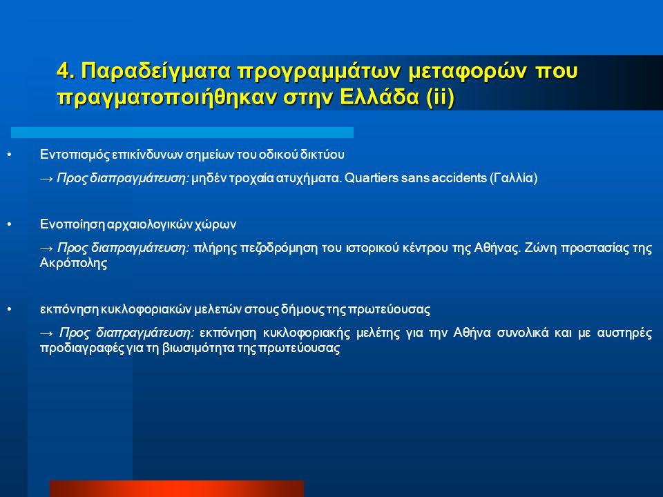 4. Παραδείγματα προγραμμάτων μεταφορών που πραγματοποιήθηκαν στην Ελλάδα (ii) Εντοπισμός επικίνδυνων σημείων του οδικού δικτύου → Προς διαπραγμάτευση:
