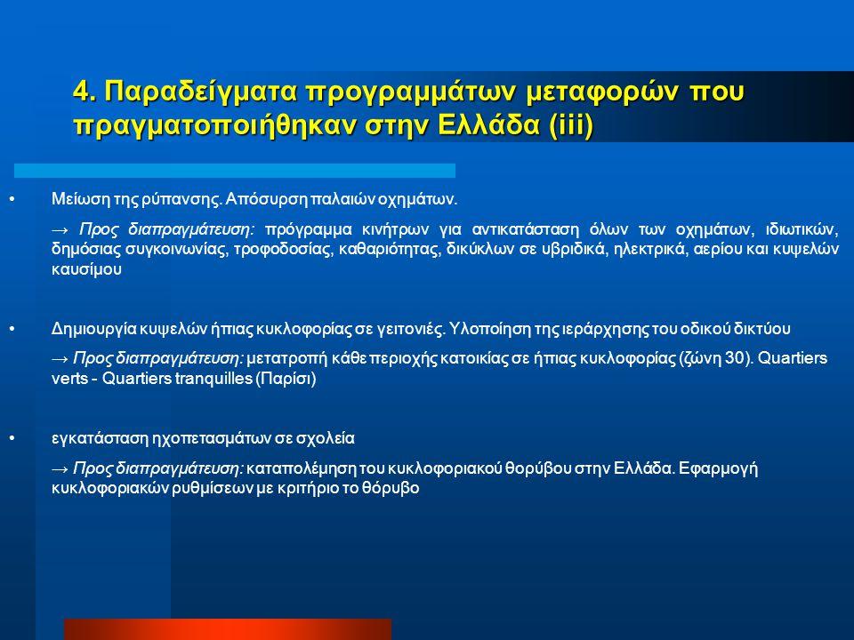4. Παραδείγματα προγραμμάτων μεταφορών που πραγματοποιήθηκαν στην Ελλάδα (iii) Μείωση της ρύπανσης.
