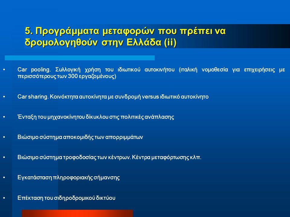 5. Προγράμματα μεταφορών που πρέπει να δρομολογηθούν στην Ελλάδα (ii) Car pooling.