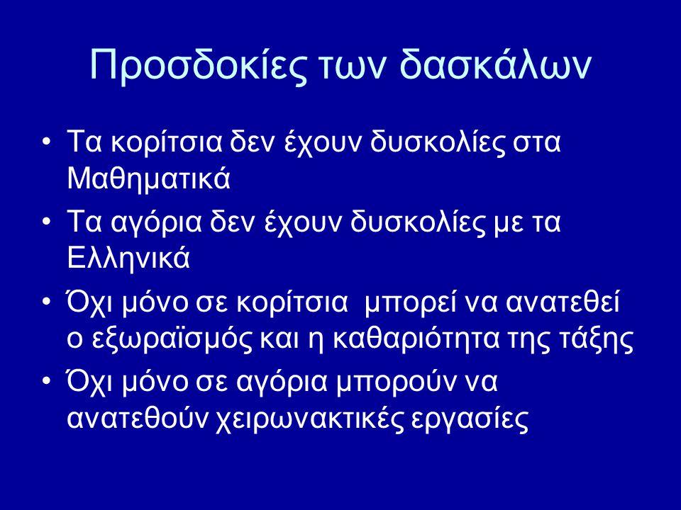Προσδοκίες των δασκάλων Τα κορίτσια δεν έχουν δυσκολίες στα Μαθηματικά Τα αγόρια δεν έχουν δυσκολίες με τα Ελληνικά Όχι μόνο σε κορίτσια μπορεί να ανατεθεί ο εξωραϊσμός και η καθαριότητα της τάξης Όχι μόνο σε αγόρια μπορούν να ανατεθούν χειρωνακτικές εργασίες