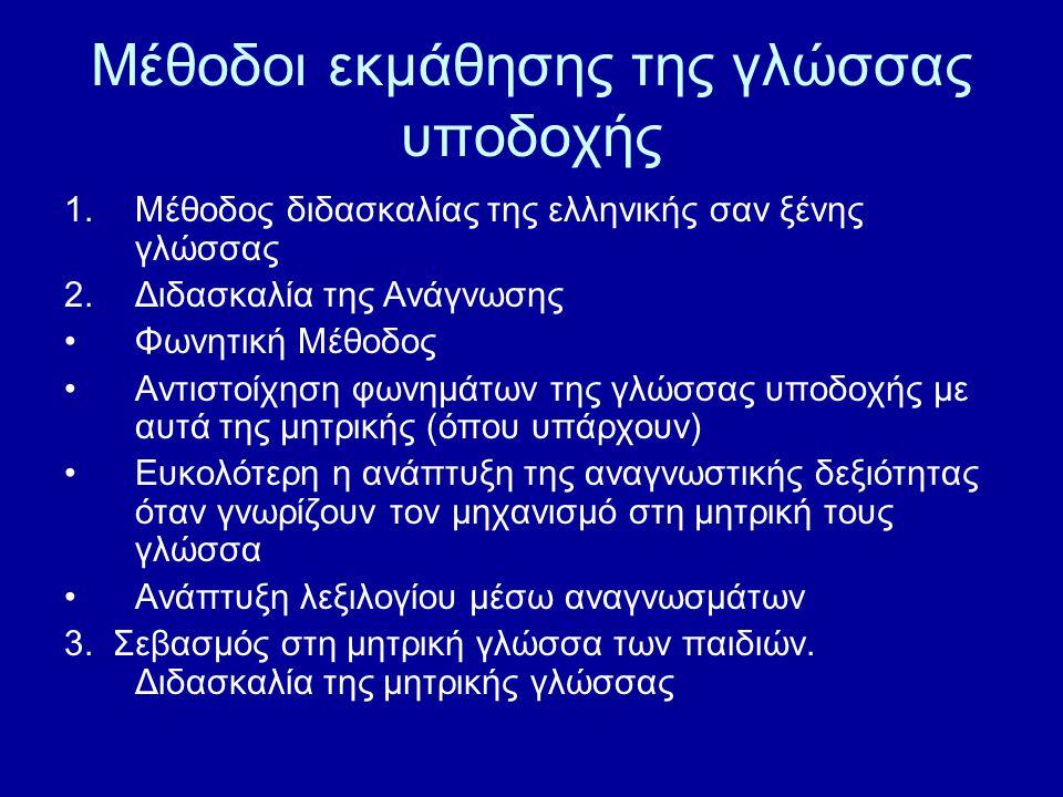 Μέθοδοι εκμάθησης της γλώσσας υποδοχής 1.Μέθοδος διδασκαλίας της ελληνικής σαν ξένης γλώσσας 2.Διδασκαλία της Ανάγνωσης Φωνητική Μέθοδος Αντιστοίχηση φωνημάτων της γλώσσας υποδοχής με αυτά της μητρικής (όπου υπάρχουν) Ευκολότερη η ανάπτυξη της αναγνωστικής δεξιότητας όταν γνωρίζουν τον μηχανισμό στη μητρική τους γλώσσα Ανάπτυξη λεξιλογίου μέσω αναγνωσμάτων 3.