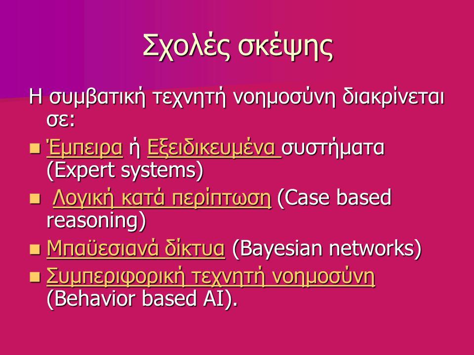 Σχολές σκέψης Η συμβατική τεχνητή νοημοσύνη διακρίνεται σε: Έμπειρα ή Εξειδικευμένα συστήματα (Expert systems) Έμπειρα ή Εξειδικευμένα συστήματα (Expert systems) ΈμπειραΕξειδικευμένα ΈμπειραΕξειδικευμένα Λογική κατά περίπτωση (Case based reasoning) Λογική κατά περίπτωση (Case based reasoning)Λογική κατά περίπτωσηΛογική κατά περίπτωση Μπαϋεσιανά δίκτυα (Bayesian networks) Μπαϋεσιανά δίκτυα (Bayesian networks) Μπαϋεσιανά δίκτυα Μπαϋεσιανά δίκτυα Συμπεριφορική τεχνητή νοημοσύνη (Behavior based AI).