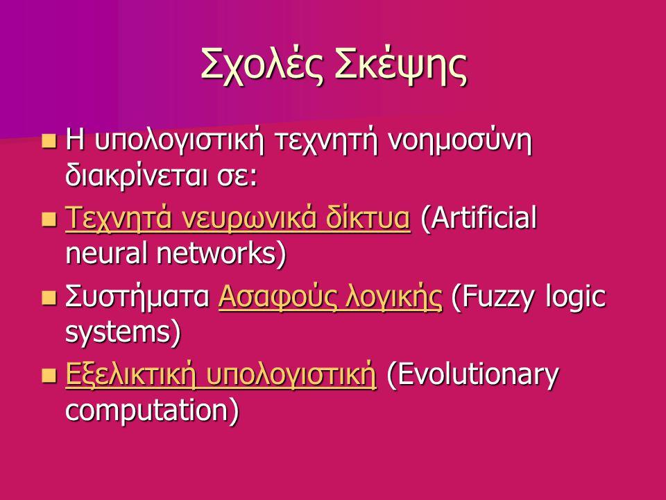 Σχολές Σκέψης Η υπολογιστική τεχνητή νοημοσύνη διακρίνεται σε: Η υπολογιστική τεχνητή νοημοσύνη διακρίνεται σε: Τεχνητά νευρωνικά δίκτυα (Artificial neural networks) Τεχνητά νευρωνικά δίκτυα (Artificial neural networks) Τεχνητά νευρωνικά δίκτυα Τεχνητά νευρωνικά δίκτυα Συστήματα Ασαφούς λογικής (Fuzzy logic systems) Συστήματα Ασαφούς λογικής (Fuzzy logic systems)Ασαφούς λογικήςΑσαφούς λογικής Εξελικτική υπολογιστική (Evolutionary computation) Εξελικτική υπολογιστική (Evolutionary computation) Εξελικτική υπολογιστική Εξελικτική υπολογιστική