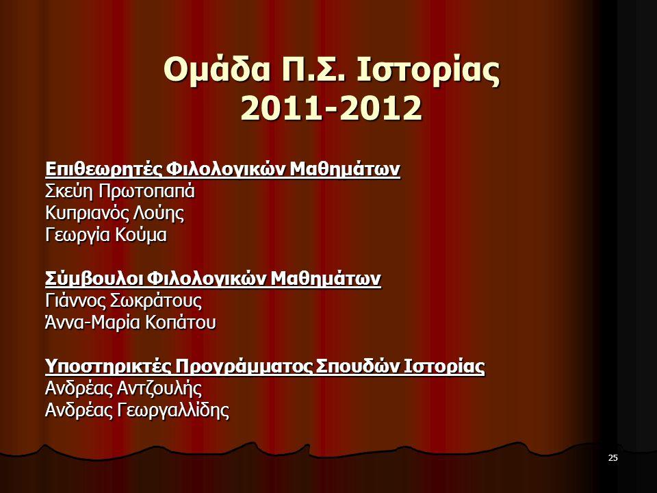 25 Ομάδα Π.Σ. Ιστορίας 2011-2012 Επιθεωρητές Φιλολογικών Μαθημάτων Σκεύη Πρωτοπαπά Κυπριανός Λούης Γεωργία Κούμα Σύμβουλοι Φιλολογικών Μαθημάτων Γιάνν