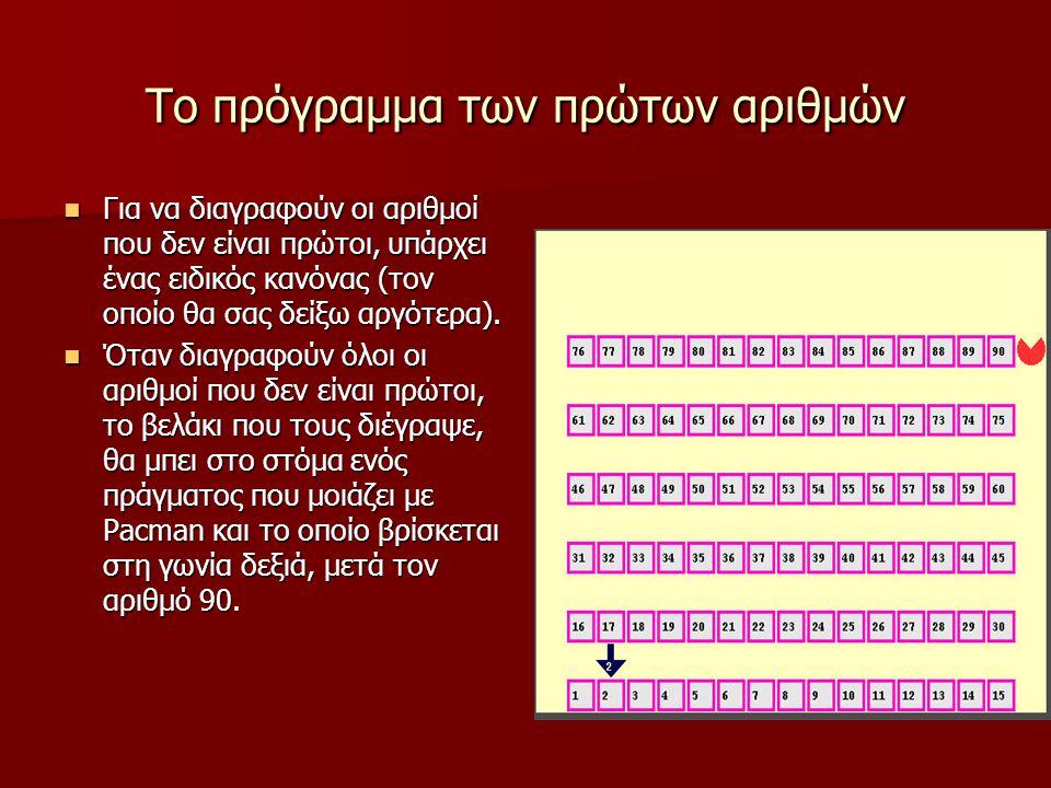 Το πρόγραμμα των πρώτων αριθμών Για να διαγραφούν οι αριθμοί που δεν είναι πρώτοι, υπάρχει ένας ειδικός κανόνας (τον οποίο θα σας δείξω αργότερα).