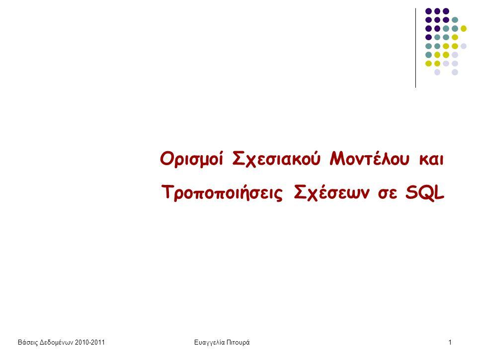 Βάσεις Δεδομένων 2010-2011Ευαγγελία Πιτουρά12 Πεδία Τιμών Τύποι Πεδίου Ορισμού Για τον ορισμό του πεδίου ορισμού, οι διαθέσιμοι built-in τύποι περιλαμβάνουν – περισσότερα στο βιβλίο και στη σελίδα του μαθήματος: char(n) (σταθερού μήκους) varchar(n) int smallint numeric(p, d) (d από τα p ψηφία είναι στα δεξιά της υποδιαστολής) real, double precision float(n) date (ημερομηνία) time (ώρα)