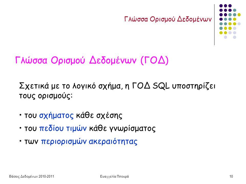 Βάσεις Δεδομένων 2010-2011Ευαγγελία Πιτουρά10 Γλώσσα Ορισμού Δεδομένων Γλώσσα Ορισμού Δεδομένων (ΓΟΔ) Σχετικά με το λογικό σχήμα, η ΓΟΔ SQL υποστηρίζει τους ορισμούς: του σχήματος κάθε σχέσης του πεδίου τιμών κάθε γνωρίσματος των περιορισμών ακεραιότητας