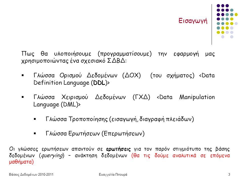 Βάσεις Δεδομένων 2010-2011Ευαγγελία Πιτουρά14 Ορισμός Σχήματος Παράδειγμα CREATE TABLE Ταινία (Τίτλος varchar(20) not null, Έτος int not null, Διάρκεια int, Είδος varchar(20), primary key (Τίτλος, Έτος)); CREATE TABLE Ηθοποιός (Όνομα varchar(20) not null, Διεύθυνση varchar(15), Έτος-Γέννησης int, primary key (Όνομα), check (Έτος-Γέννησης >= 1800)); CREATE TABLE Παίζει (Όνομα varchar(20) not null, Τίτλος varchar(20) not null, Έτος int not null, primary key (Όνομα, Τίτλος, Έτος), foreign key (Όνομα) references Ηθοποιός(Όνομα), foreign key (Τίτλος, Έτος) references Ταινία(Τίτλος, Έτος); Ορισμός σχήματος σχέσης Όνομα σχέσης + γνωρίσματα