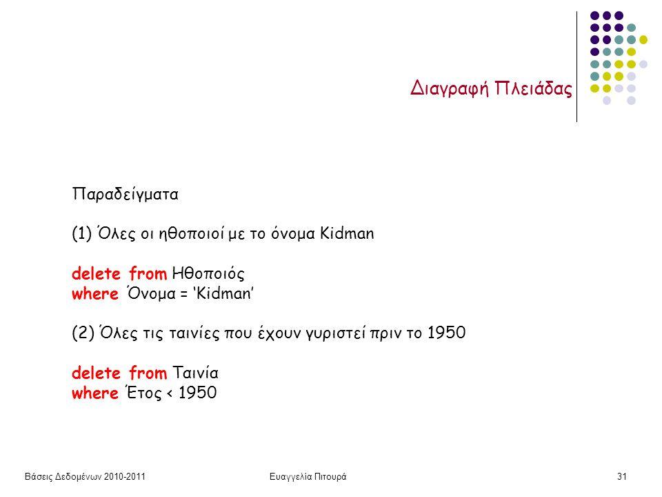 Βάσεις Δεδομένων 2010-2011Ευαγγελία Πιτουρά31 Διαγραφή Πλειάδας Παραδείγματα (1) Όλες οι ηθοποιοί με το όνομα Kidman delete from Ηθοποιός where Όνομα = 'Kidman' (2) Όλες τις ταινίες που έχουν γυριστεί πριν το 1950 delete from Ταινία where Έτος < 1950