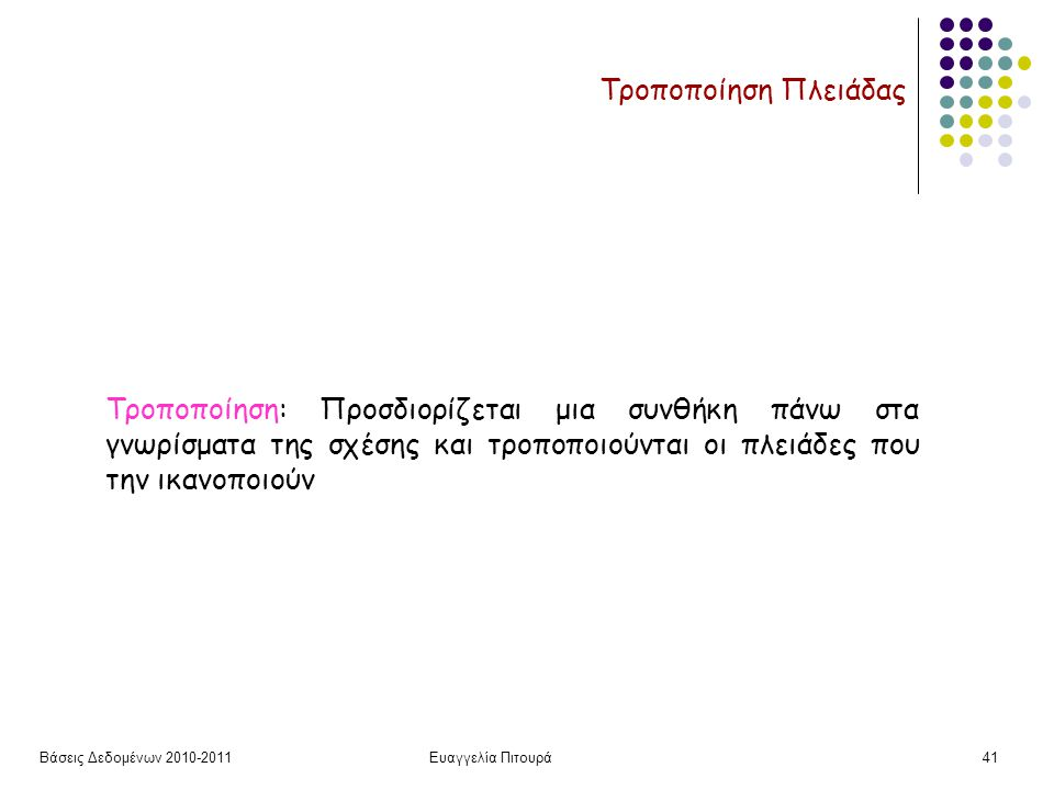 Βάσεις Δεδομένων 2010-2011Ευαγγελία Πιτουρά41 Τροποποίηση Πλειάδας Τροποποίηση: Προσδιορίζεται μια συνθήκη πάνω στα γνωρίσματα της σχέσης και τροποποιούνται οι πλειάδες που την ικανοποιούν