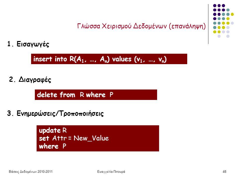 Βάσεις Δεδομένων 2010-2011Ευαγγελία Πιτουρά48 Γλώσσα Χειρισμού Δεδομένων (επανάληψη) insert into R(A 1, …, A n ) values (v 1, …, v n ) delete from R where P update R set Attr = New_Value where P 1.