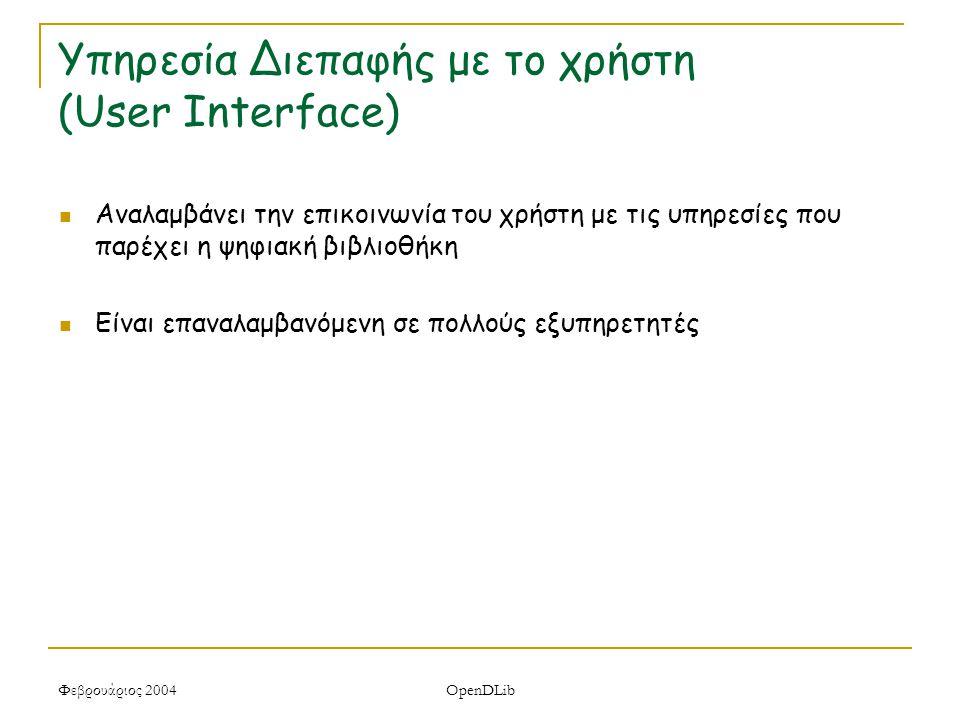 Φεβρουάριος 2004 OpenDLib Υπηρεσία Διεπαφής με το χρήστη (User Interface) Αναλαμβάνει την επικοινωνία του χρήστη με τις υπηρεσίες που παρέχει η ψηφιακή βιβλιοθήκη Είναι επαναλαμβανόμενη σε πολλούς εξυπηρετητές