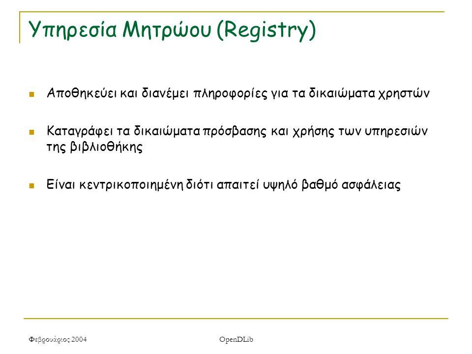 Φεβρουάριος 2004 OpenDLib Υπηρεσία Μητρώου (Registry) Αποθηκεύει και διανέμει πληροφορίες για τα δικαιώματα χρηστών Καταγράφει τα δικαιώματα πρόσβασης και χρήσης των υπηρεσιών της βιβλιοθήκης Είναι κεντρικοποιημένη διότι απαιτεί υψηλό βαθμό ασφάλειας