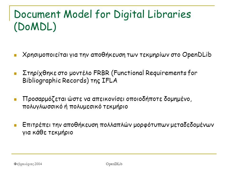 Φεβρουάριος 2004 OpenDLib Document Model for Digital Libraries (DoMDL) Χρησιμοποιείται για την αποθήκευση των τεκμηρίων στο OpenDLib Στηρίχθηκε στο μοντέλο FRBR (Functional Requirements for Bibliographic Records) της IFLA Προσαρμόζεται ώστε να απεικονίσει οποιοδήποτε δομημένο, πολυγλωσσικό ή πολυμεσικό τεκμήριο Επιτρέπει την αποθήκευση πολλαπλών μορφότυπων μεταδεδομένων για κάθε τεκμήριο