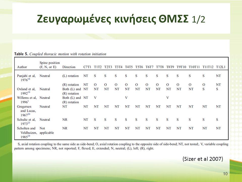 Ζευγαρωμένες κινήσεις ΘΜΣΣ 1/2 10 (Sizer et al 2007)