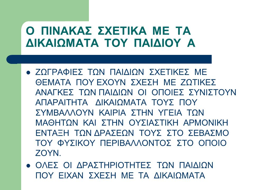Ο ΠΙΝΑΚΑΣ ΣΧΕΤΙΚΑ ΜΕ ΤΑ ΔΙΚΑΙΩΜΑΤΑ ΤΟΥ ΠΑΙΔΙΟΥ Β ΤΟΥΣ ΗΤΑΝ ΕΝΤΑΓΜΕΝΕΣ ΣΤΟ ΕΥΡΩΠΑΪΚΟ ΕΚΠΑΙΔΕΥΤΙΚΟ ΠΡΟΓΡΑΜΜΑ COMENIUS , ΣΤΟ ΟΠΟΙΟ ΣΥΜΜΕΤΕΙΧΑΝ 8 ΣΥΝΟΛΙΚΑ ΣΧΟΛΕΙΑ ΑΠΟ ΤΗΝ ΕΥΡΩΠΗ (ΔΗΜΟΤΙΚΟ ΣΧΟΛΕΙΟ ΤΕΜΕΝΗΣ, ΈΝΑ ΑΓΓΛΙΚΟ, ΈΝΑ ΓΑΛΛΙΚΟ, ΈΝΑ ΙΣΠΑΝΙΚΟ, ΈΝΑ ΠΟΡΤΟΓΑΛΙΚΟ, ΈΝΑ ΒΟΥΛΓΑΡΙΚΟ, ΈΝΑ ΙΤΑΛΙΚΟ, ΈΝΑ ΤΟΥΡΚΙΚΟ ).