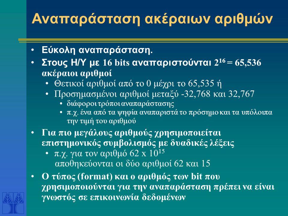 Αναπαράσταση ακέραιων αριθμών Εύκολη αναπαράσταση. Στους Η/Υ με 16 bits αναπαριστούνται 2 16 = 65,536 ακέραιοι αριθμοί Θετικοί αριθμοί από το 0 μέχρι