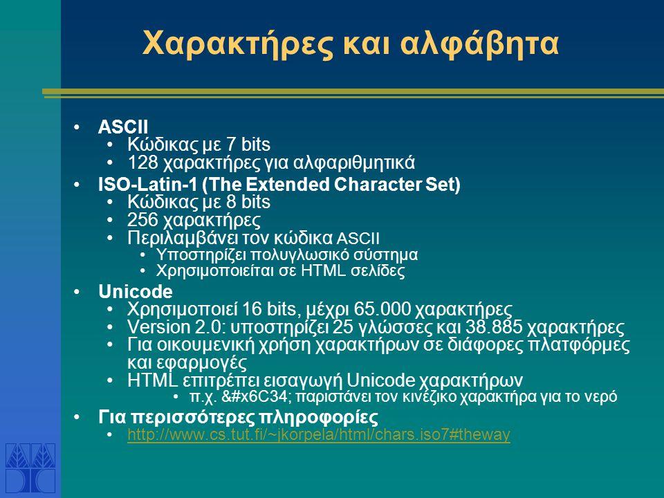 Χαρακτήρες και αλφάβητα ASCII Κώδικας με 7 bits 128 χαρακτήρες για αλφαριθμητικά ISO-Latin-1 (The Extended Character Set) Κώδικας με 8 bits 256 χαρακτ