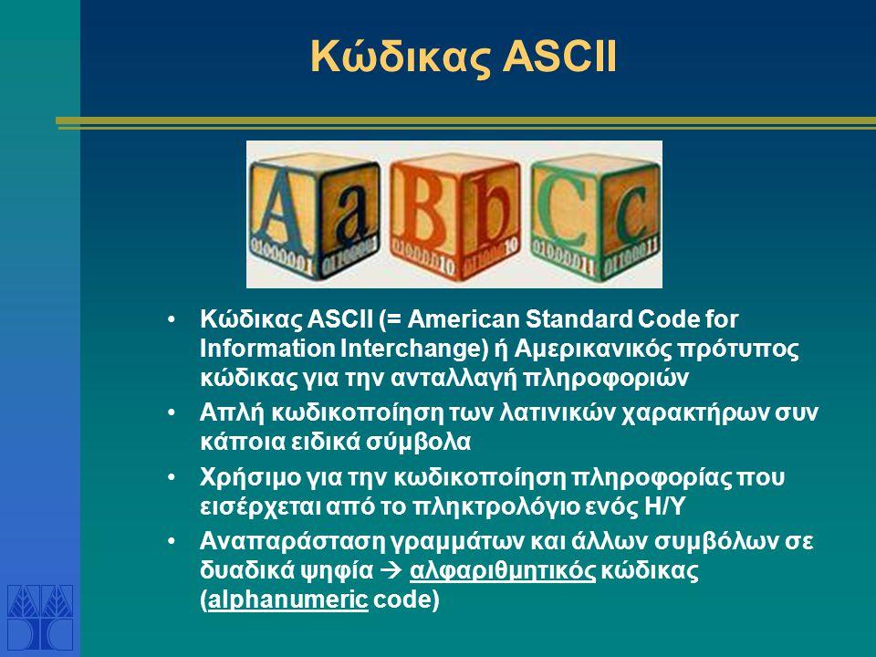 Κώδικας ASCII Κώδικας ASCII (= American Standard Code for Information Interchange) ή Αμερικανικός πρότυπος κώδικας για την ανταλλαγή πληροφοριών Απλή