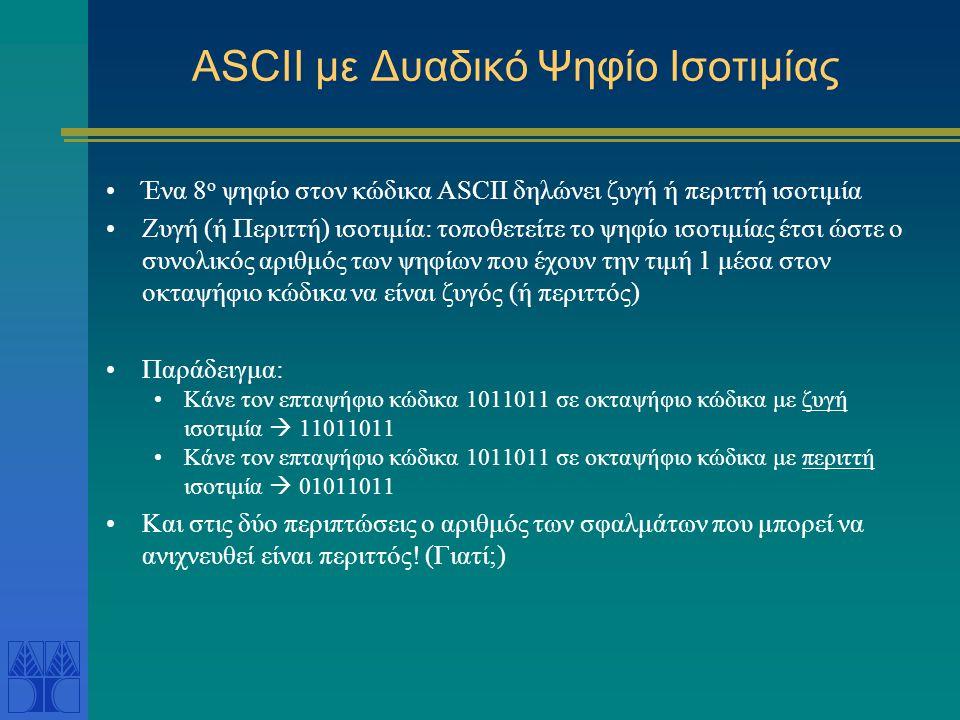 ASCII με Δυαδικό Ψηφίο Ισοτιμίας Ένα 8 ο ψηφίο στον κώδικα ASCII δηλώνει ζυγή ή περιττή ισοτιμία Ζυγή (ή Περιττή) ισοτιμία: τοποθετείτε το ψηφίο ισοτι