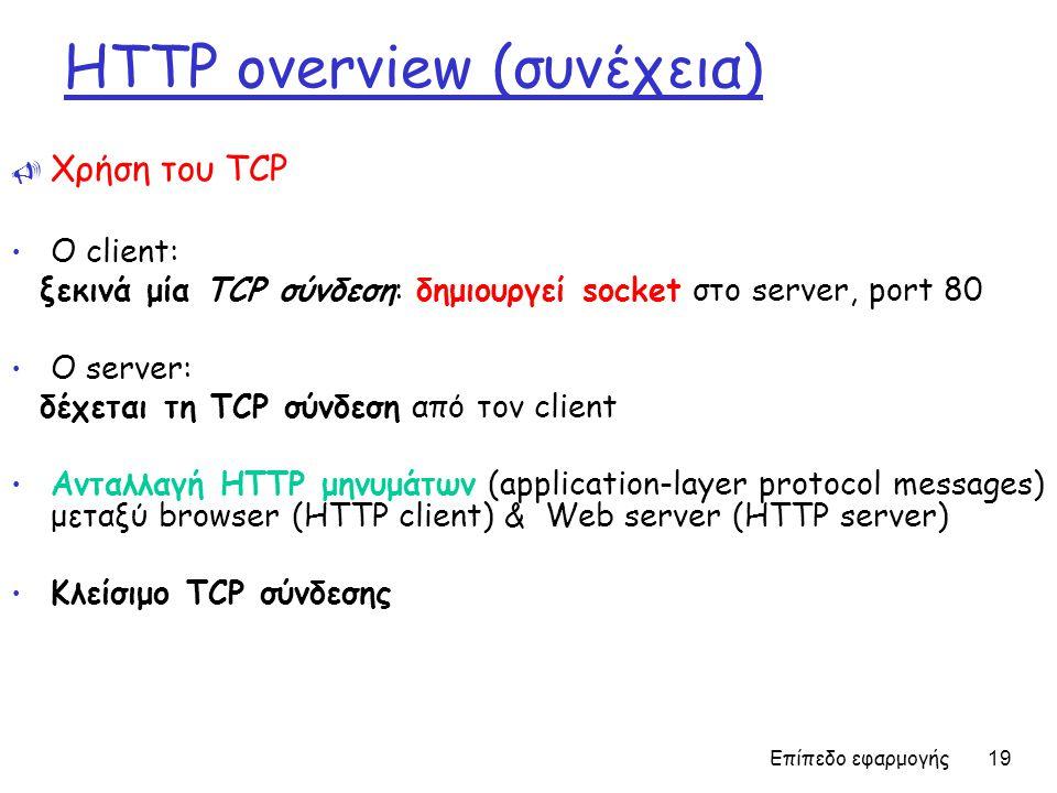 Επίπεδο εφαρμογής 19 HTTP overview (συνέχεια)  Χρήση του TCP Ο client: ξεκινά μία TCP σύνδεση: δημιουργεί socket στο server, port 80 Ο server: δέχεται τη TCP σύνδεση από τον client Ανταλλαγή HTTP μηνυμάτων (application-layer protocol messages) μεταξύ browser (HTTP client) & Web server (HTTP server) Κλείσιμο TCP σύνδεσης