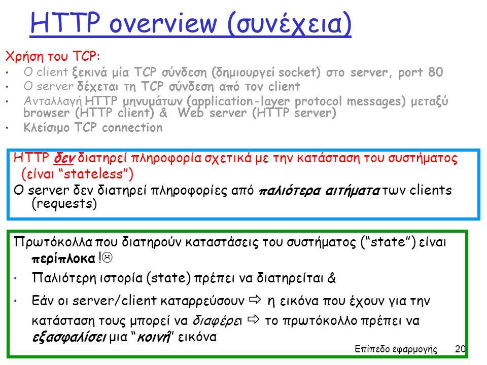 Επίπεδο εφαρμογής 20 HTTP overview (συνέχεια) Χρήση του TCP: Ο client ξεκινά μία TCP σύνδεση (δημιουργεί socket) στο server, port 80 Ο server δέχεται