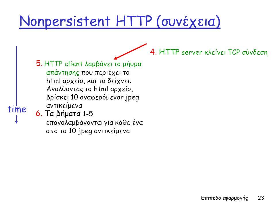 Επίπεδο εφαρμογής 23 Nonpersistent HTTP (συνέχεια) 5. HTTP client λαμβάνει το μήυμα απάντησης που περιέχει το html αρχείο, και το δείχνει. Αναλύοντας