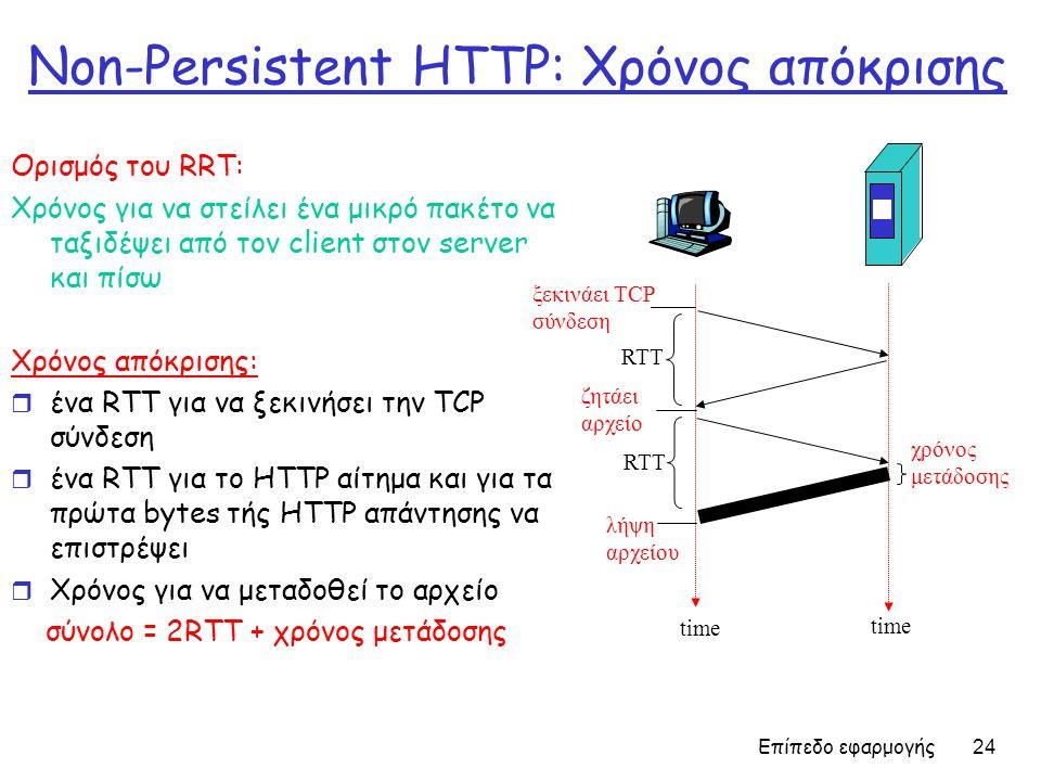 Επίπεδο εφαρμογής 24 Non-Persistent HTTP: Χρόνος απόκρισης Ορισμός του RRT: Χρόνος για να στείλει ένα μικρό πακέτο να ταξιδέψει από τον client στον server και πίσω Χρόνος απόκρισης: r ένα RTT για να ξεκινήσει την TCP σύνδεση r ένα RTT για το HTTP αίτημα και για τα πρώτα bytes τής HTTP απάντησης να επιστρέψει r Χρόνος για να μεταδοθεί το αρχείο σύνολο = 2RTT + χρόνος μετάδοσης χρόνος μετάδοσης ξεκινάει TCP σύνδεση RTT ζητάει αρχείο RTT λήψη αρχείου time