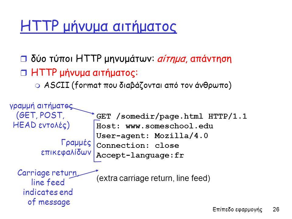 Επίπεδο εφαρμογής 26 HTTP μήνυμα αιτήματος r δύο τύποι ΗTTP μηνυμάτων: αίτημα, απάντηση r HTTP μήνυμα αιτήματος: m ASCII (format που διαβάζονται από τον άνθρωπο) GET /somedir/page.html HTTP/1.1 Host: www.someschool.edu User-agent: Mozilla/4.0 Connection: close Accept-language:fr (extra carriage return, line feed) γραμμή αιτήματος (GET, POST, HEAD εντολές) Γραμμές επικεφαλίδων Carriage return, line feed indicates end of message
