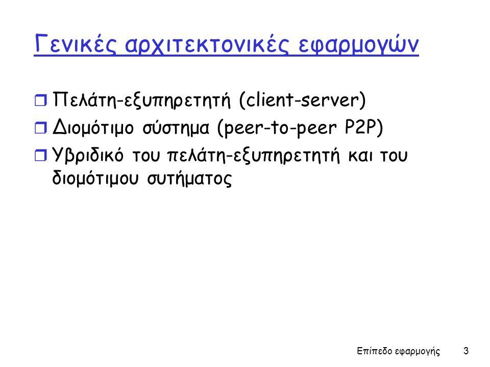Επίπεδο εφαρμογής 14 Πρωτόκολλα μεταφοράς υπηρεσιών στο Internet TCP υπηρεσία: Συνδεσιστρεφής: απαιτείται εγκαθίδρυση μεταξύ διεργασιών των client & server Αξιόπιστη μεταφορά μεταξύ διεργασιών των sender & receiver Έλεγχος ροής: ο sender δεν κατακλύζει τον receiver Έλεγχος συμφόρησης: μειώνει την ροή του sender στην περίπτωση υπερφόρτωσης του δικτύου Δεν παρέχει χρονικές ή ελάχιστου bandwidth εγγυήσεις UDP υπηρεσία: Αναξιόπιστη μεταφορά δεδομένων μεταξύ της αποστέλλουσας και της λάμβάνουσας διεργασίας Δεν παρέχει: εγκαθίδρυση σύνδεσης, αξιοπιστία, έλεγχος ροής, έλεγχος συμφόρησης, χρονισμός, ή εγγύηση εύρους ζώνης Q: Γιατί υπάρχει τότε η UDP σύνδεση?