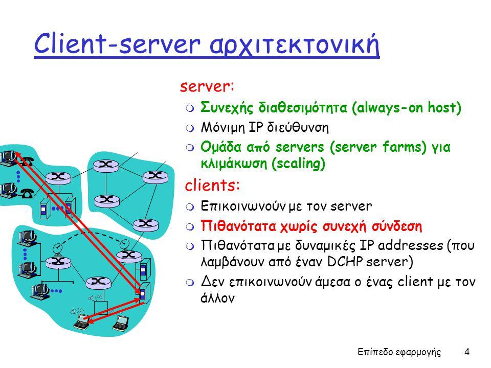Επίπεδο εφαρμογής 4 Client-server αρχιτεκτονική server: m Συνεχής διαθεσιμότητα (always-on host) m Μόνιμη IP διεύθυνση m Ομάδα από servers (server farms) για κλιμάκωση (scaling) clients: m Επικοινωνούν με τον server m Πιθανότατα χωρίς συνεχή σύνδεση m Πιθανότατα με δυναμικές IP addresses (που λαμβάνουν από έναν DCHP server) m Δεν επικοινωνούν άμεσα ο ένας client με τον άλλον