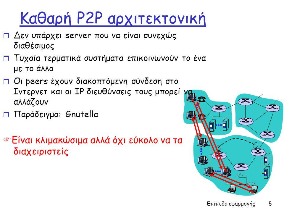 Επίπεδο εφαρμογής 5 Καθαρή P2P αρχιτεκτονική r Δεν υπάρχει server που να είναι συνεχώς διαθέσιμος r Τυχαία τερματικά συστήματα επικοινωνούν το ένα με το άλλο r Οι peers έχουν διακοπτόμενη σύνδεση στο Ιντερνετ και οι IP διευθύνσεις τους μπορεί να αλλάζουν r Παράδειγμα: Gnutella  Είναι κλιμακώσιμα αλλά όχι εύκολο να τα διαχειριστείς