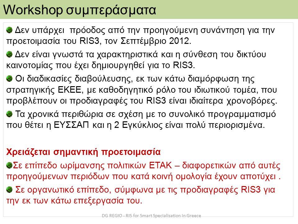 Workshop συμπεράσματα DG REGIO - RIS for Smart Specialisation in Greece Δεν υπάρχει πρόοδος από την προηγούμενη συνάντηση για την προετοιμασία του RIS