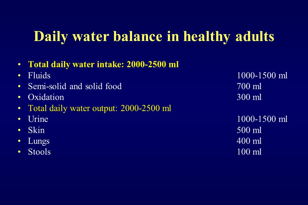 Daily water balance in healthy adults Total daily water intake: 2000-2500 ml Fluids 1000-1500 ml Semi-solid and solid food700 ml Oxidation300 ml Total
