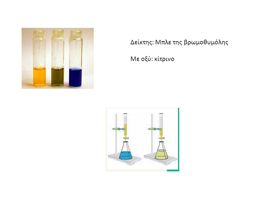 Δείκτης: Μπλε της βρωμοθυμόλης Με οξύ: κίτρινο