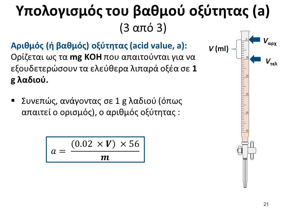 Υπολογισμός του βαθμού οξύτητας (a) (3 από 3) Αριθμός (ή βαθμός) οξύτητας (acid value, a): Ορίζεται ως τα mg ΚΟΗ που απαιτούνται για να εξουδετερώσουν τα ελεύθερα λιπαρά οξέα σε 1 g λαδιού.