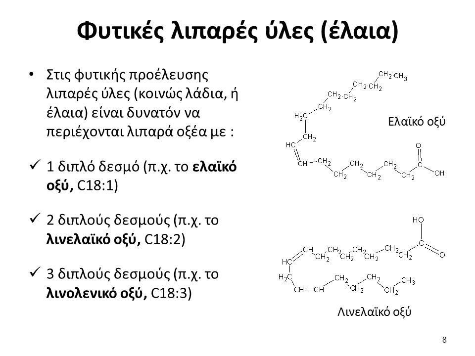 Φυτικές λιπαρές ύλες (έλαια) Στις φυτικής προέλευσης λιπαρές ύλες (κοινώς λάδια, ή έλαια) είναι δυνατόν να περιέχονται λιπαρά οξέα με : 1 διπλό δεσμό (π.χ.